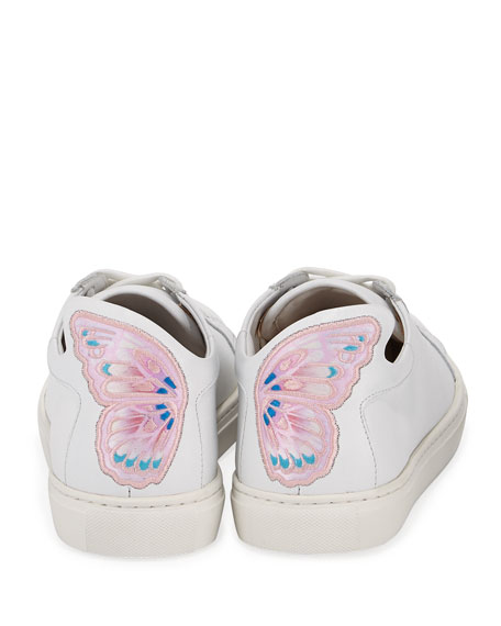 Sophia Webster Bibi Butterfly Low-Top Leather Sneakers, White