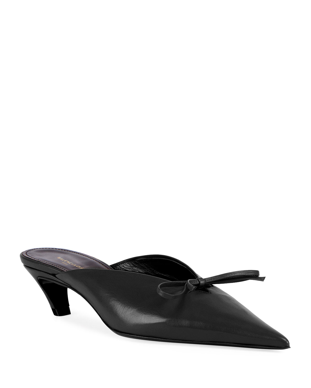 9f89198f41 Balenciaga Pointed-Toe Leather Bow Mule, Black | Neiman Marcus