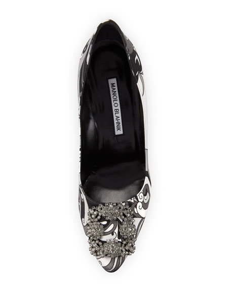 Hangisi Crystal-Buckle Velvet 105mm Pump