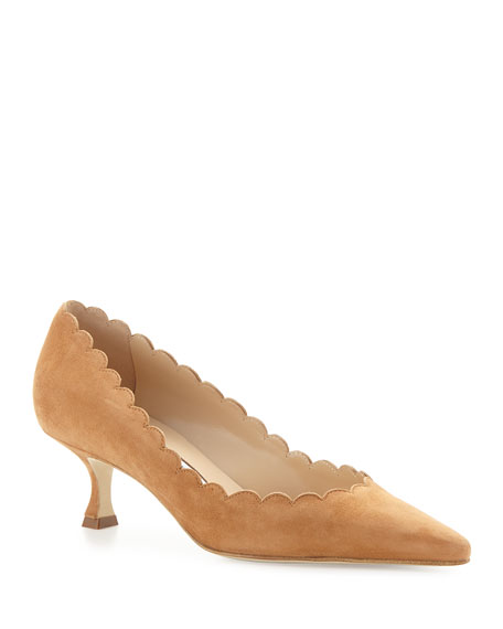 Image 1 of 3: Manolo Blahnik Srilasca Scalloped Suede Kitten-Heel Pump