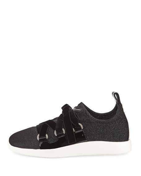 Knit Sneaker with Velvet Straps