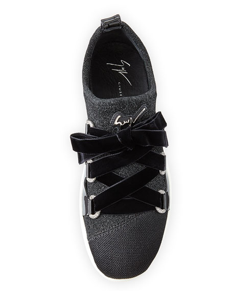 Knit Sneakers with Velvet Straps