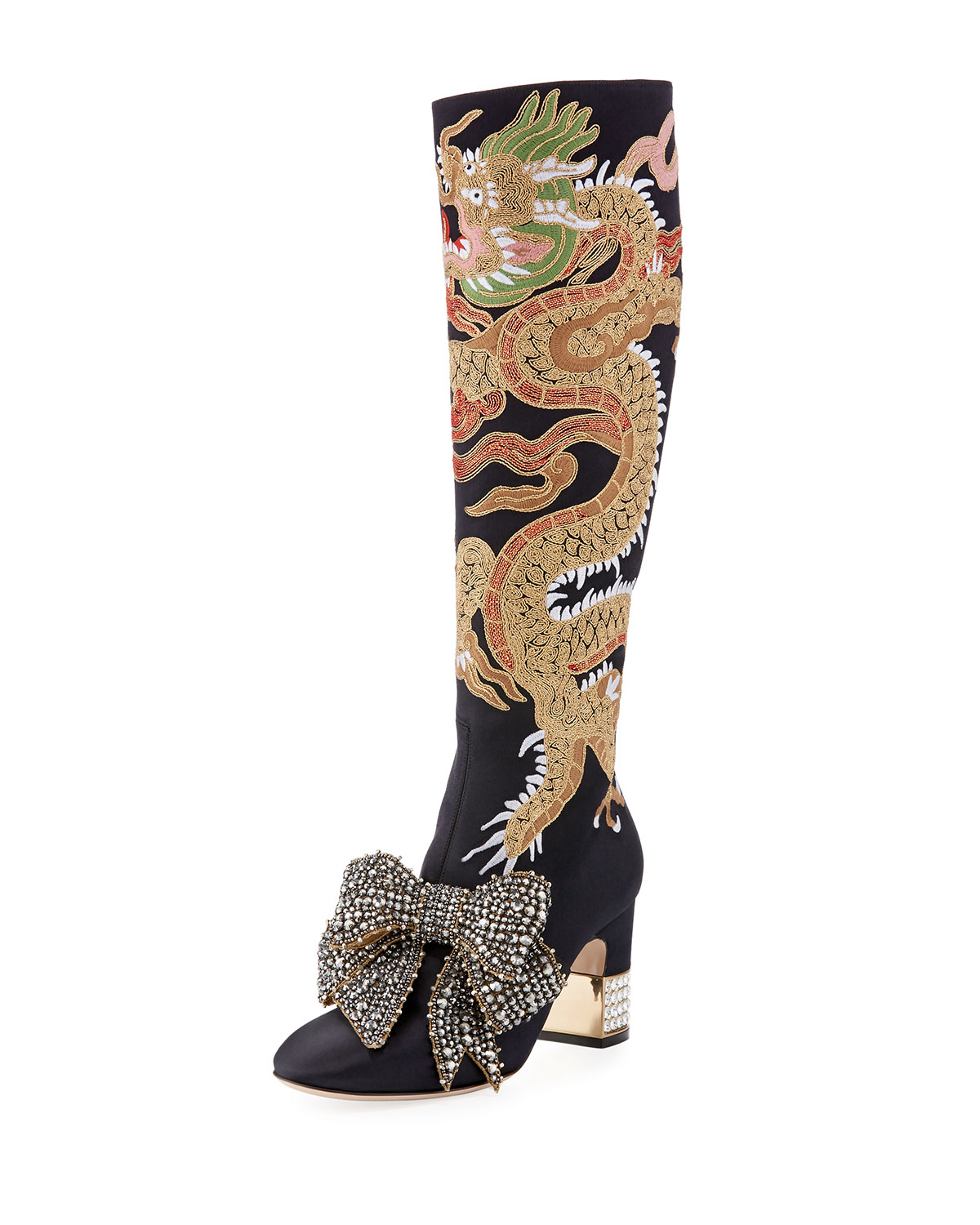 5629bf5c2515 Gucci Candy Dragon Embroidered Block-Heel Knee Boot