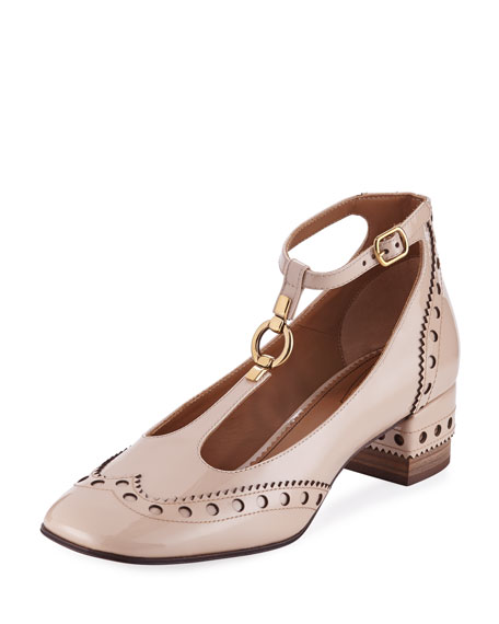 Chloe Perry Patent 45mm T-Strap Pump, Mild Beige