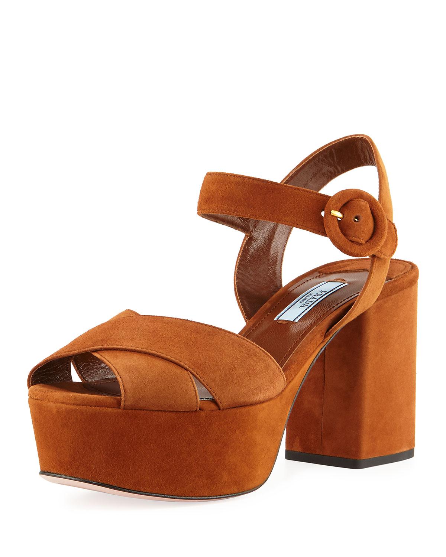 5624e2d0d6f Prada Suede Platform Ankle-Strap Sandal