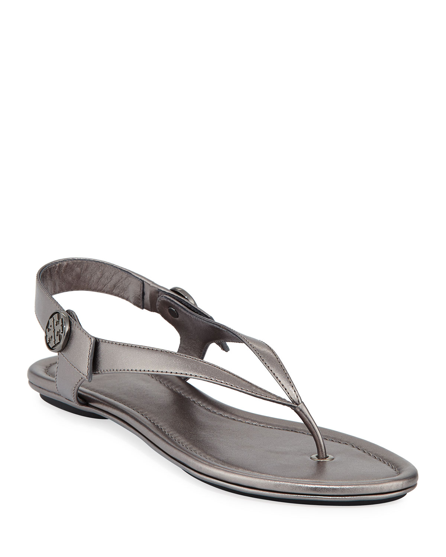 e2445e12e74f Tory Burch Minnie Metallic Flat Travel Sandals
