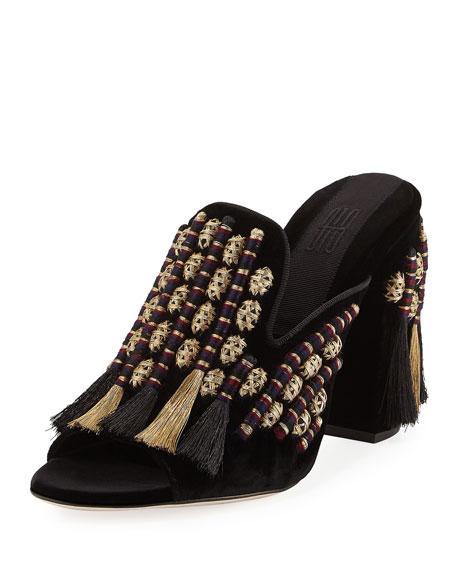 Sanayi313 Voltaire Mule Sandal, Black/Metallic