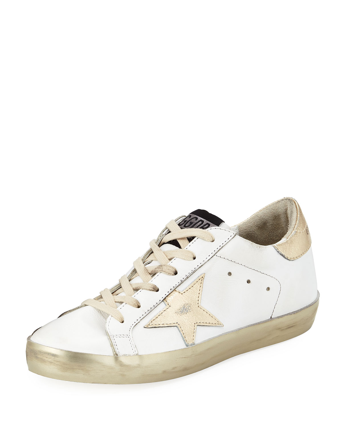 0ac538312c9f4 Golden Goose Distressed Leather Star Sneakers | Neiman Marcus