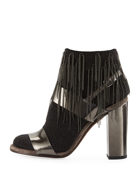 Metallic Leather Sandal with Cashmere and Monili Sock