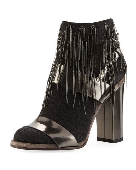 Brunello Cucinelli Metallic Leather Sandal with Cashmere and