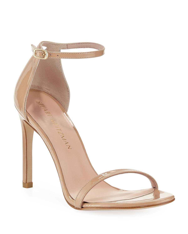 7294d23b76cf Stuart Weitzman Nudistsong Patent Ankle-Wrap Sandals