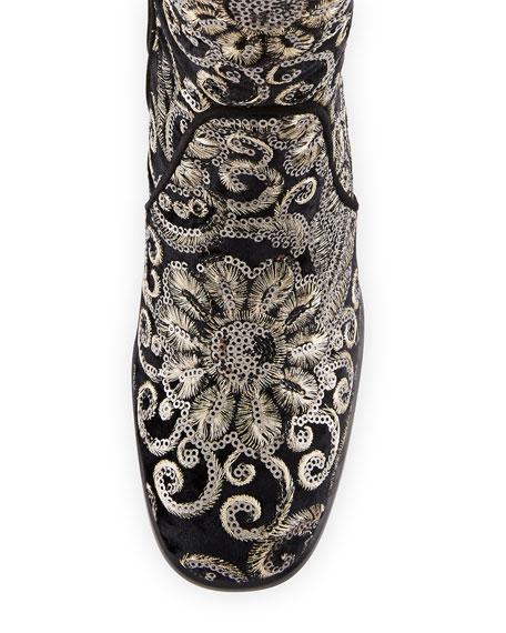 Suburb Embellished Knee Boot, Black
