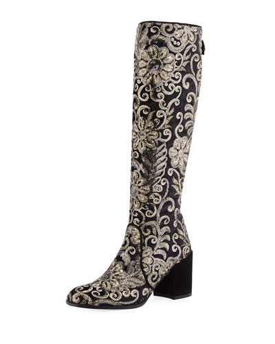 Suburb Embellished Knee Boot, Black