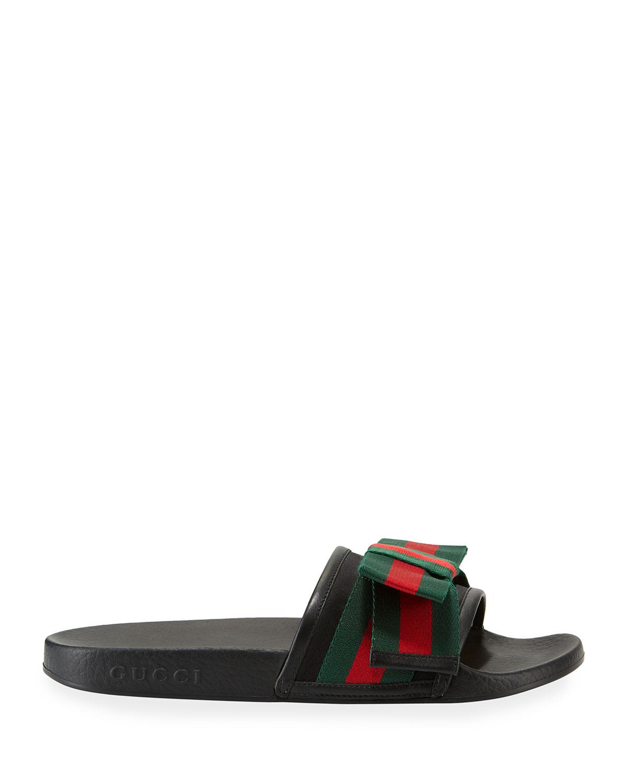 2d3401227 Gucci Flat Pursuit Slide With Bow   Neiman Marcus