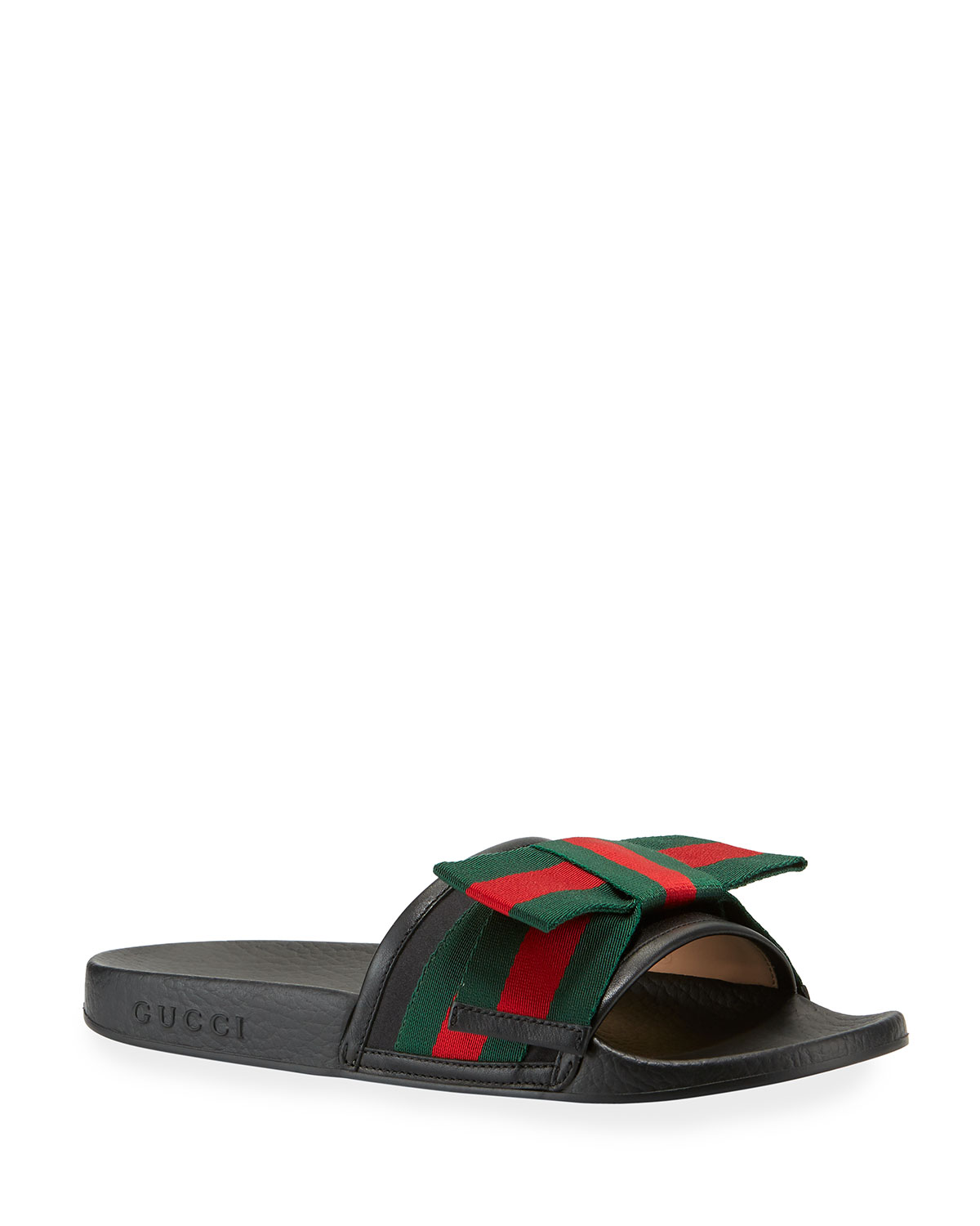 84248057a Gucci Flat Pursuit Slide With Bow | Neiman Marcus