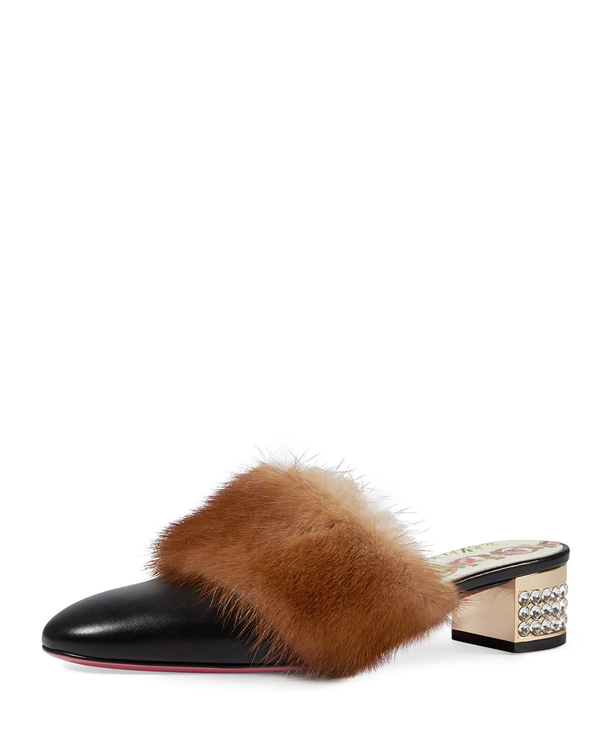 94436d857 Gucci 35mm Candy Leather Mule With Fur Trim | Neiman Marcus