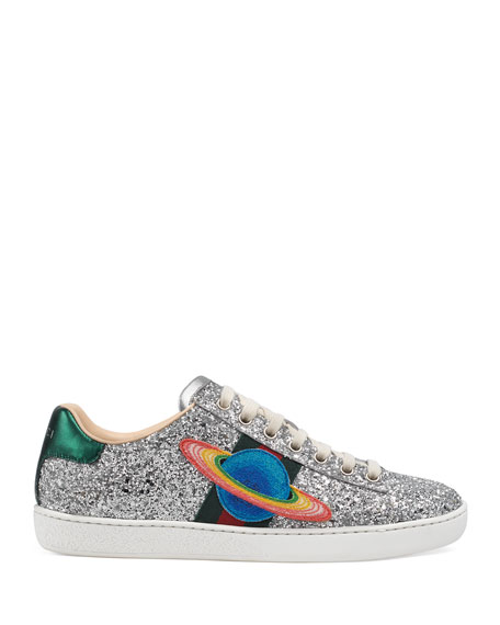 Gucci Ace Saturn Glitter Low-Top Sneakers
