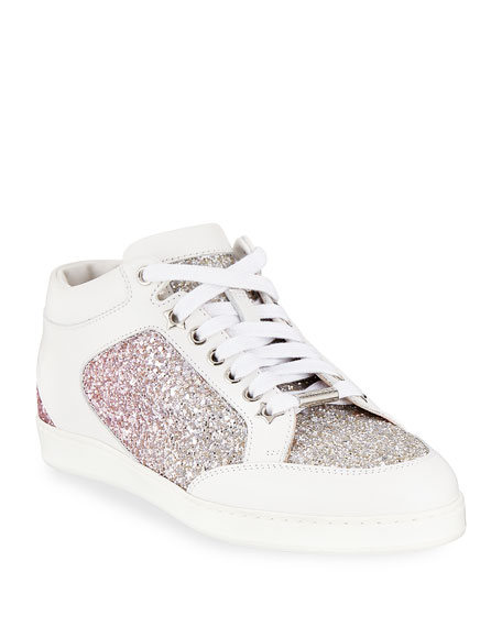 Jimmy Choo Miami Leather and Glitter Sneaker