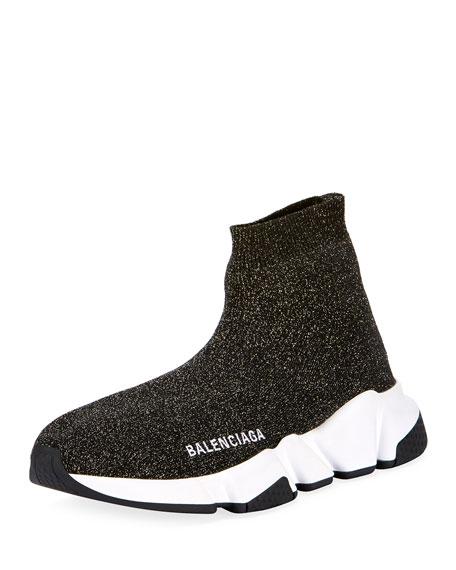 Balenciaga Metallic Knit High-Top Sock