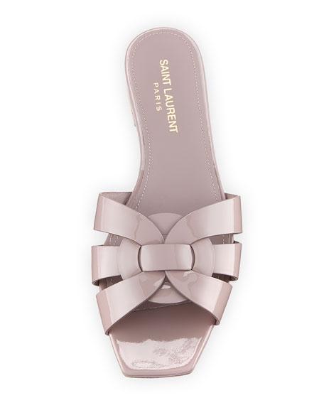 Saint Laurent Tribute Patent Leather Flat Slide Sandals