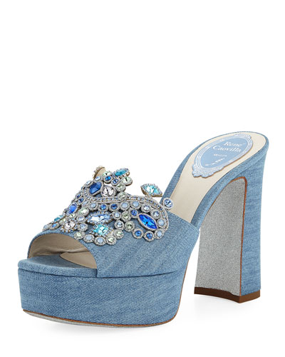 Denim Embellished Platform Slide Sandal