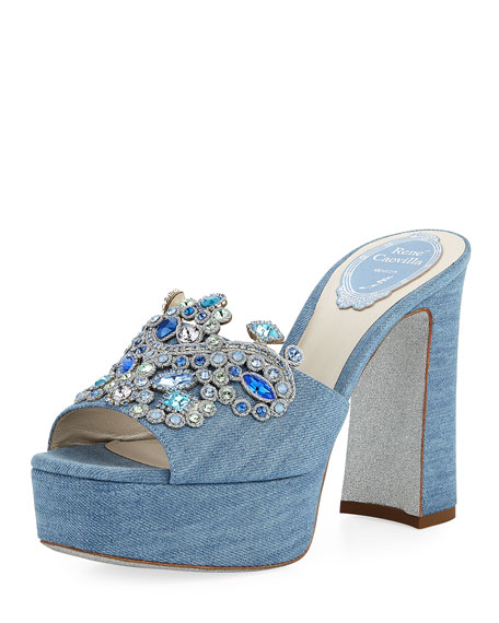 Denim Embellished Platform Slide Sandal by Neiman Marcus