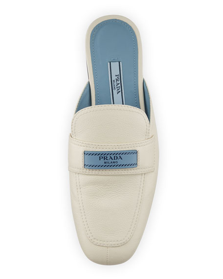 Leather 10mm Mule Loafer with Logo