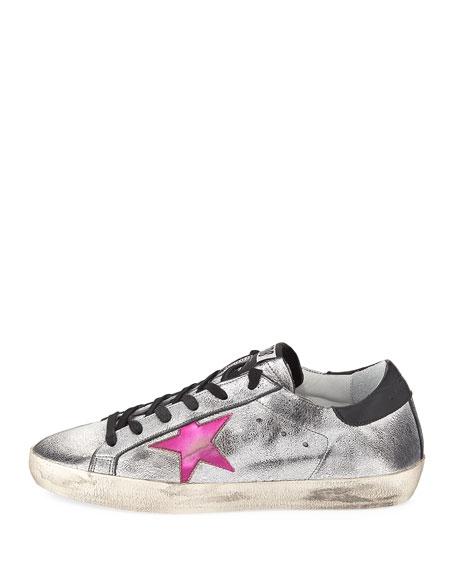 Superstar Metallic Low-Top Sneaker, Silver