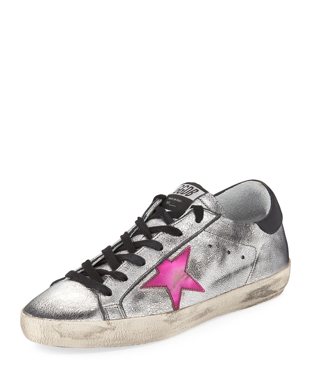 Golden Goose Superstar Low-Top Metallic Low-Top Superstar Sneakers, Silver 045c32