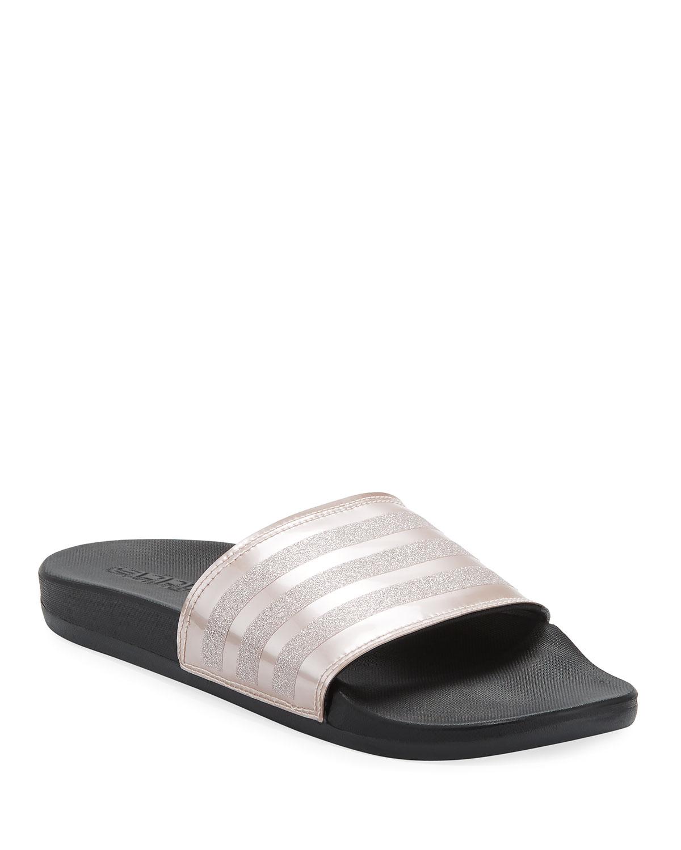 best service f3526 6212d Adidas Adilette Glitter Comfort Slide Sandal