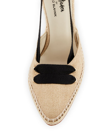 Canvas Two-Tone Espadrille Pump