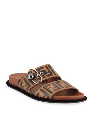 6a06cd28fc2e Rockoko Leather Slip-On Sneakers.  590 · Fendi Pearland FF Leather Slide  Sandal