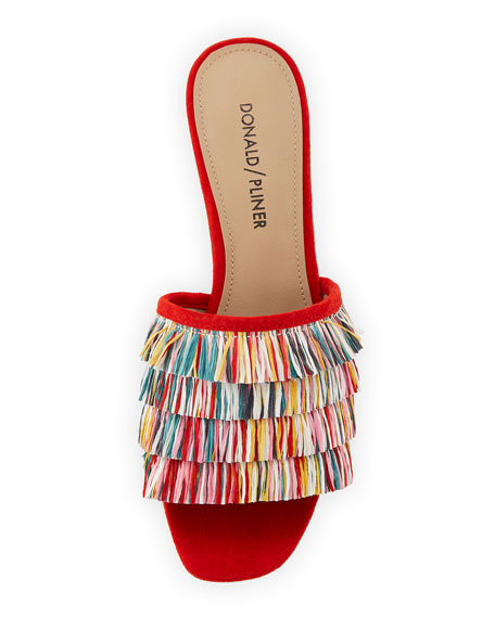 Donald J Pliner Reise Raffia Fringe Low Slide Sandals