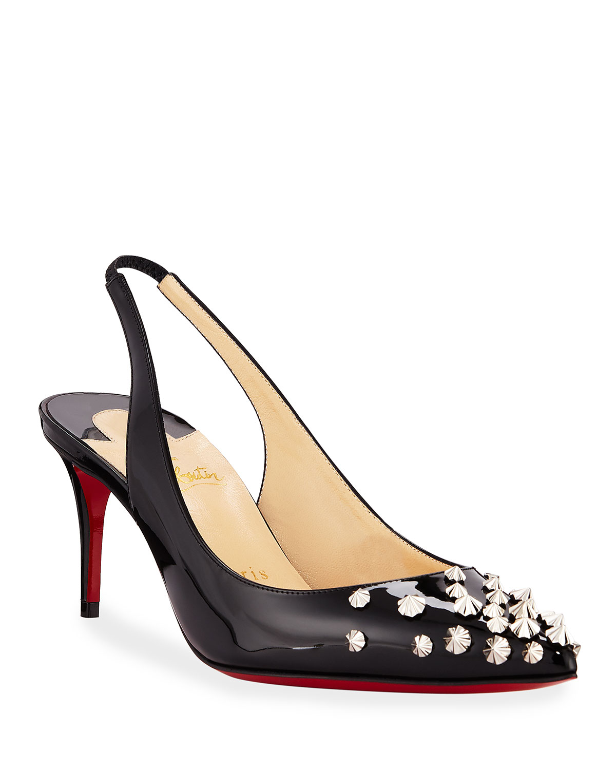 26636587187 Christian Louboutin Drama Spikes 70mm Red Sole Slingback Pumps ...