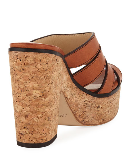 Image 3 of 3: Jimmy Choo Dray Leather Cork Platform Slide Sandal