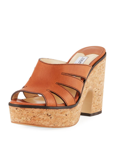 Image 1 of 3: Jimmy Choo Dray Leather Cork Platform Slide Sandal