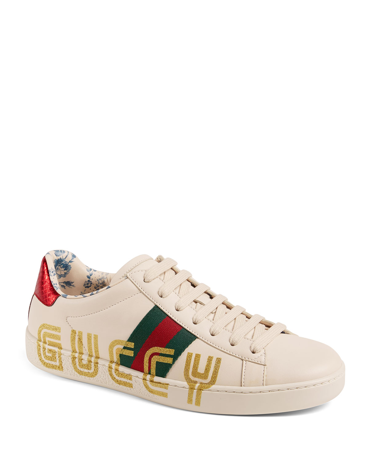 b42265b5896e Gucci New Ace Guccy Leather Sneaker   Neiman Marcus