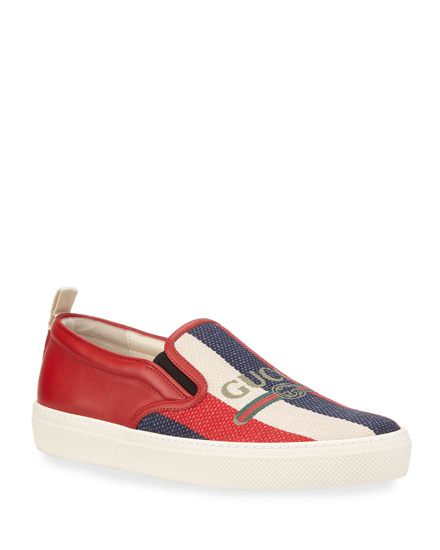 b1345b22d Gucci Dublin Striped Fabric Skate Sneaker | Neiman Marcus