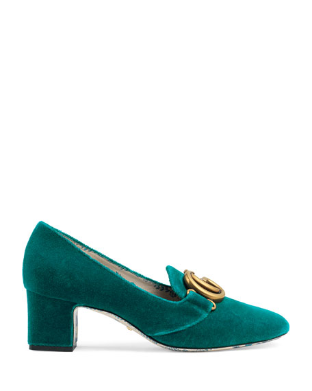 Velvet GG Block-Heel Loafer Pump
