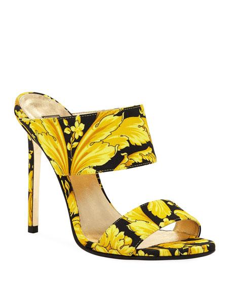 Versace Sandals Baroque-Print Twill Mule Pump