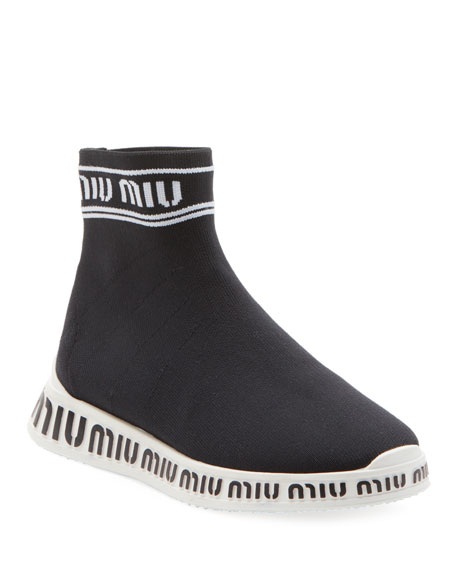 Miu Miu Sock Knit High-Top Trainer Sneakers