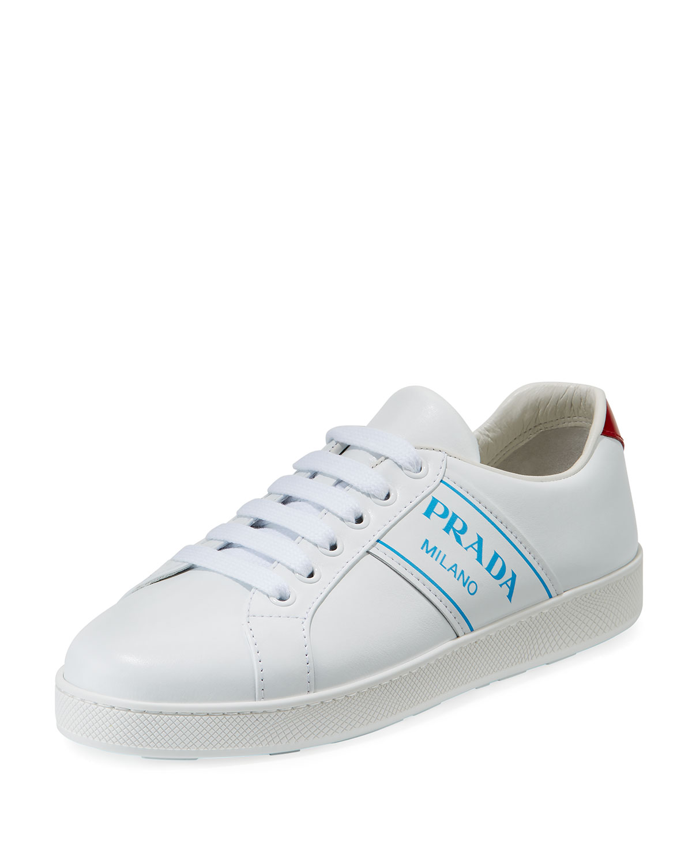 Prada Blue Logo Platform Low-Top Sneakers  50f62b860f68