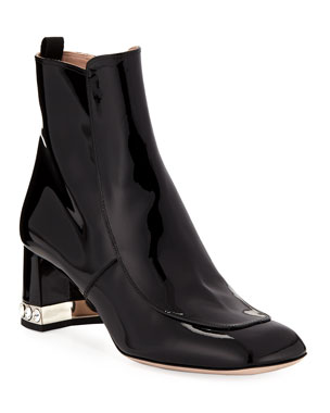 b7bee69a753 Miu Miu Patent Leather Block-Heel Ankle Boots