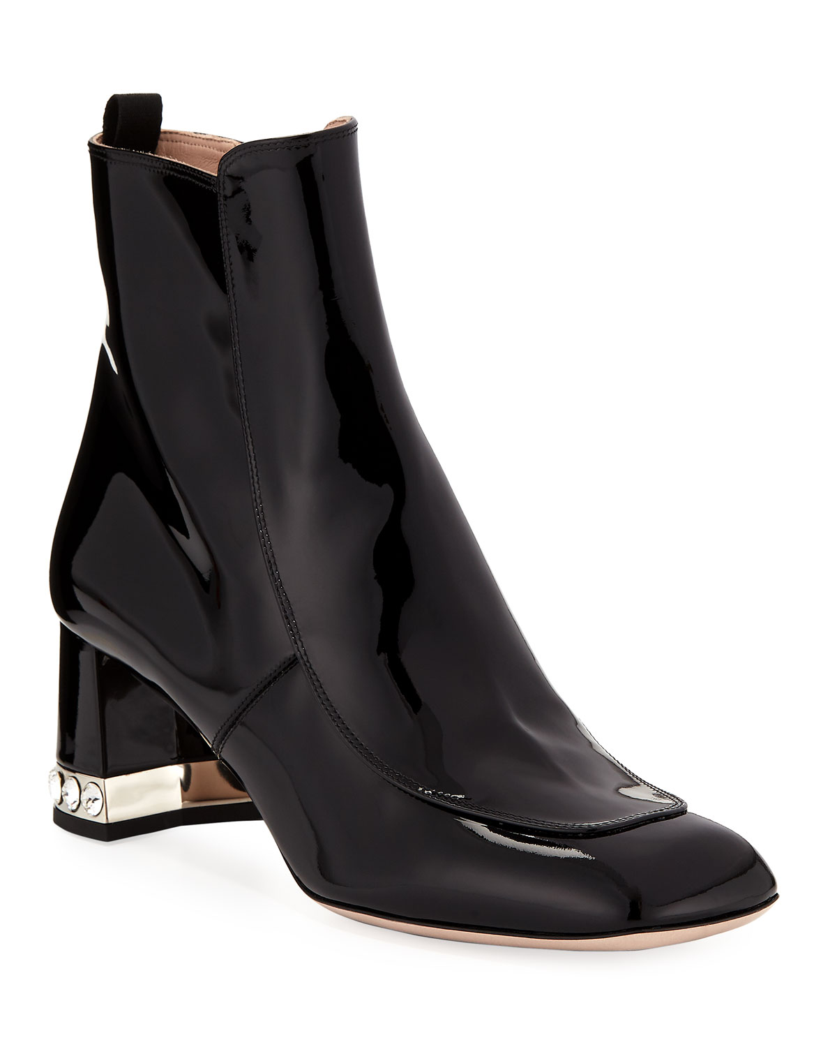 620f3edc4ea Miu Miu Patent Leather Block-Heel Ankle Boots