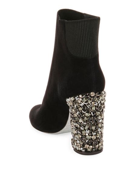 Suede Bootie with Crystal Block Heel