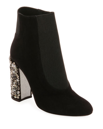 Suede Bootie with Crystal Block Heel