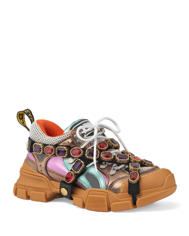 15e0ea006c4 Gucci Flashtrek Metallic Leather Hiker Sneaker With Chain Strap ...