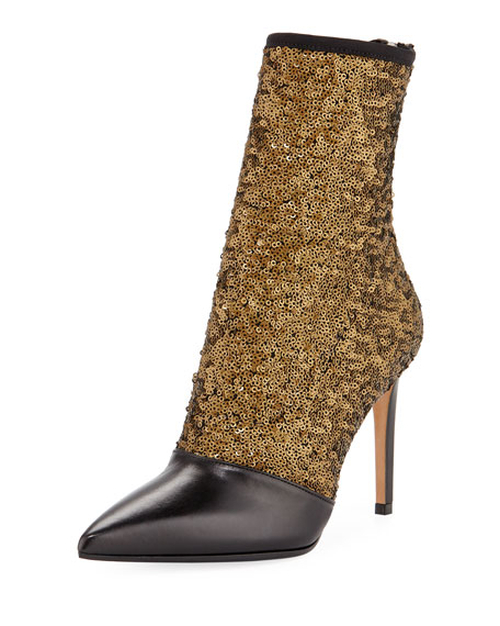Fay Glitter Open-Toe Ankle Boot