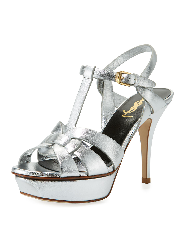 58dc13f8327 Saint Laurent Tribute Metallic Leather Platform Sandals