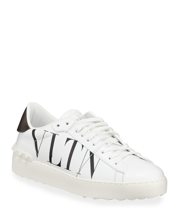 eb596de32b4 VLTN Open-Laced Leather Low-Top Sneakers